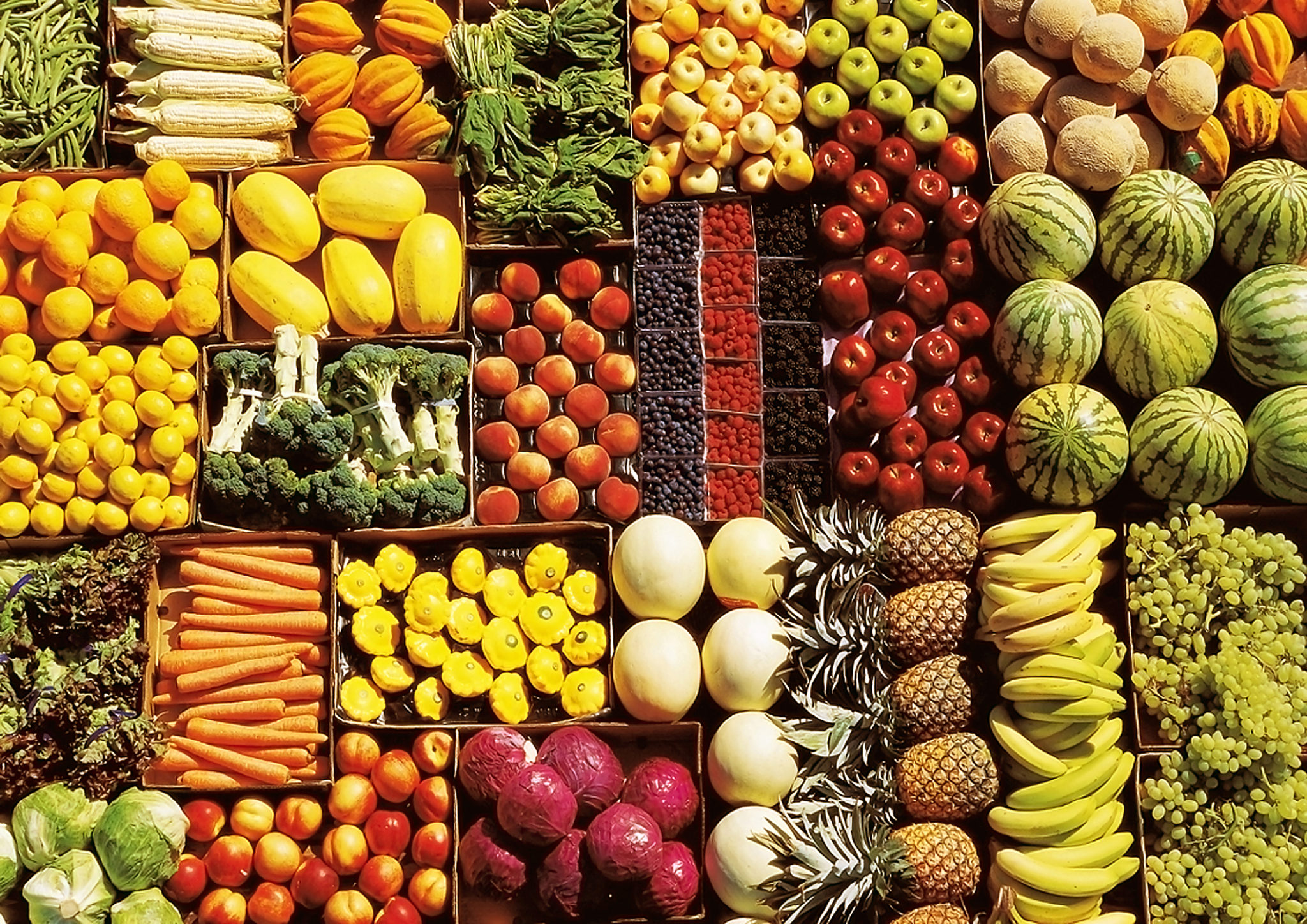 display of various fruit and vegetables